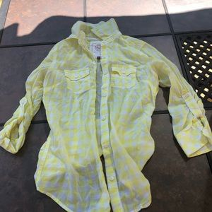 Yellow and white button up